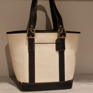 Coach cream woven with black leather bucket purse